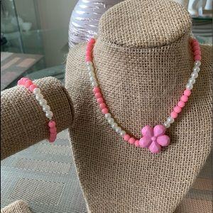 👶5/$25 Girls Pink Flower Bead Necklace /Bracelet